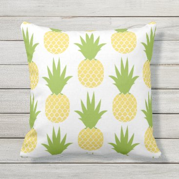 Beach Themed Yellow Pineapple Patterned Throw Pillow