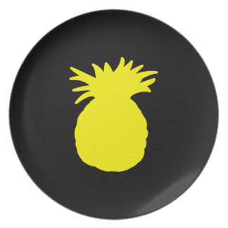 Yellow Pineapple Silhouette Dinner Plate