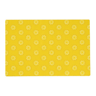 Yellow Pineapple Slices Pattern Laminated Place Mat