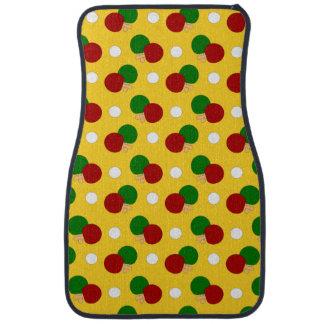 Yellow ping pong pattern car floor mat