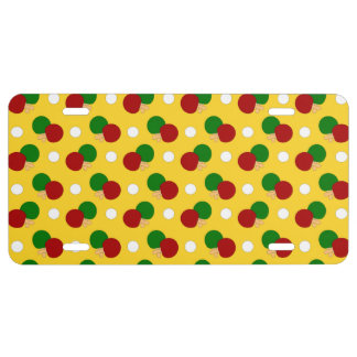 Yellow ping pong pattern license plate