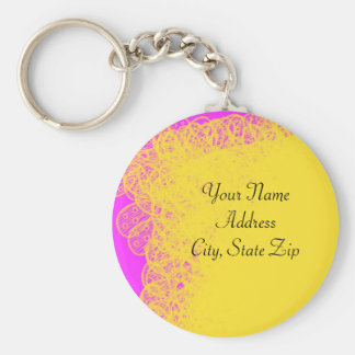 Yellow Pink Abstract Keychain