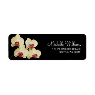 Yellow Pink and Black Orchid Return Address Labels