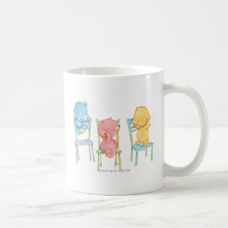 Yellow, Pink, and Blue Bears on Chairs Coffee Mug