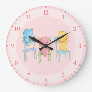 Yellow, Pink, and Blue Bears on Chairs Large Clock