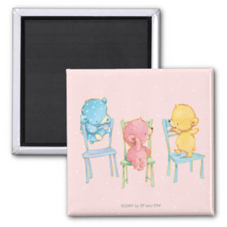 Yellow, Pink, and Blue Bears on Chairs 2 Inch Square Magnet