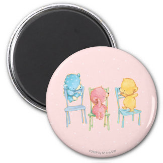 Yellow, Pink, and Blue Bears on Chairs 2 Inch Round Magnet