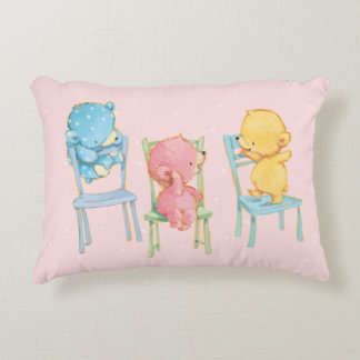 Yellow, Pink, and Blue Bears on Chairs Accent Pillow