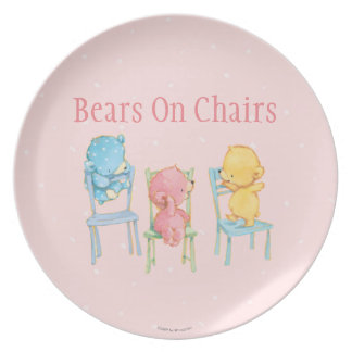 Yellow, Pink, and Blue Bears on Chairs Melamine Plate