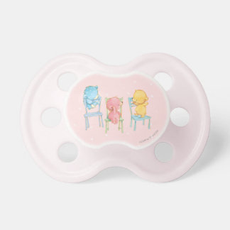 Yellow, Pink, and Blue Bears on Chairs Pacifier