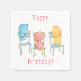 Yellow, Pink, and Blue Bears on Chairs Paper Napkin