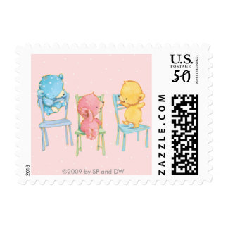 Yellow, Pink, and Blue Bears on Chairs Postage