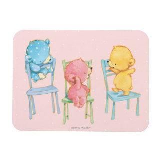 Yellow, Pink, and Blue Bears on Chairs Rectangular Photo Magnet
