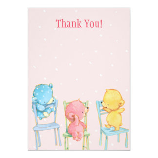 Yellow, Pink, and Blue Bears Thank You Card