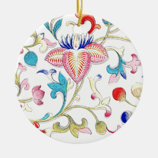 Yellow Pink and Blue Flowers Ceramic Ornament