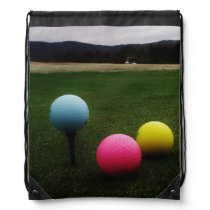 YELLOW, PINK AND BLUE Golf Balls Drawstring Bag