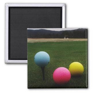 YELLOW, PINK AND BLUE Golf Balls Fridge Magnets