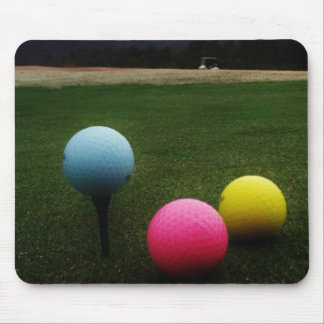 yellow pink and blue, Golf Balls Mouse Pad