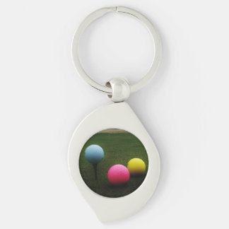YELLOW, PINK AND BLUE Golf Balls Keychains