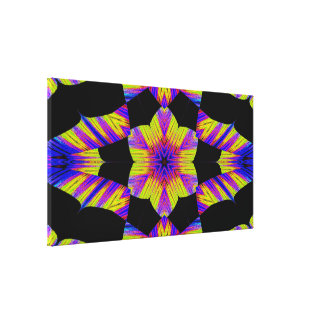 Yellow, Pink and Blue Lotus in Black C SDL Canvas Print