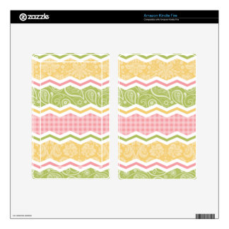 Yellow Pink and Green Cute Country Patterns Decal For Kindle Fire