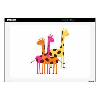 """Yellow, Pink and Orange Giraffes 17"""" Laptop Decal"""