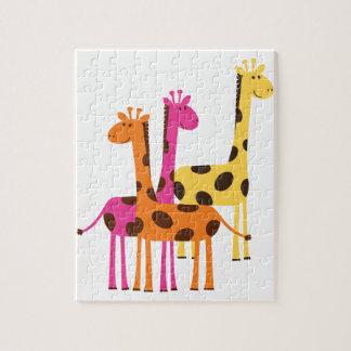 Yellow, Pink and Orange Giraffes Jigsaw Puzzle