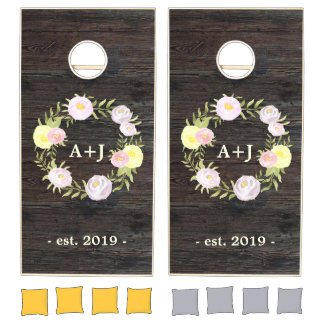 Yellow Pink and Purple Rustic Roses Wedding Cornhole Set