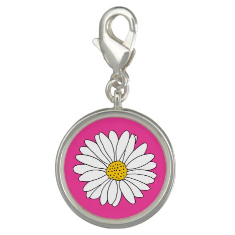 Yellow Pink and White Daisy Charm