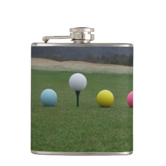 YELLOW PINK AND WHITE Golf Balls Hip Flasks