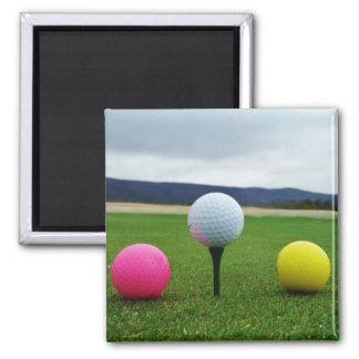YELLOW, PINK AND WHITE  Golf Balls Fridge Magnet