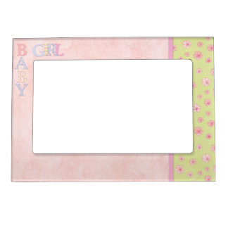 Yellow Pink Baby Girl Flowers 5 x 7 Magnetic Frame