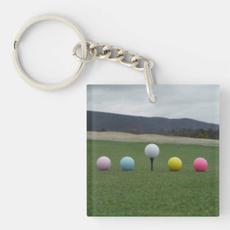 YELLOW, PINK, BLUE AND WHITE  Golf Balls Keychain