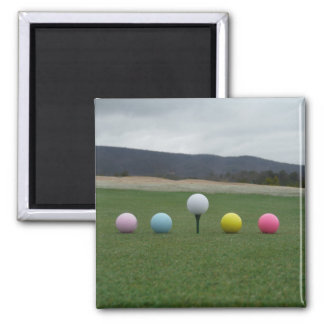 YELLOW, PINK, BLUE AND WHITE  Golf Balls Refrigerator Magnets