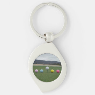 YELLOW, PINK, BLUE AND WHITE  Golf Balls Key Chains