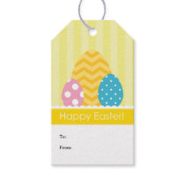 Yellow Pink Blue Eggs Happy Easter Gift Tags