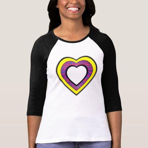 Yellow pink blue heart t-shirts