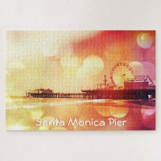 Yellow Pink Bokeh Santa Monica Pier Jigsaw Puzzle
