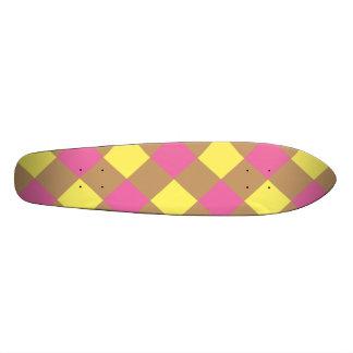 Yellow pink brown argyle pattern skateboard