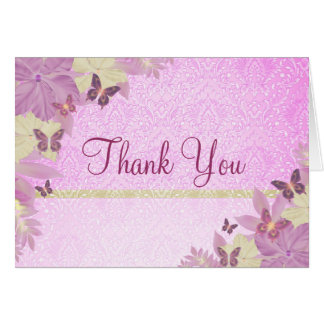 Yellow & Pink Butterfly & Damask Thank You card