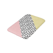 Yellow & Pink Color Blocks & Black Brushstrokes Bathroom Mat