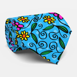Yellow pink daisies, flowers with blue background neck tie