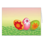 Yellow Pink Easter Eggs Greeting Card