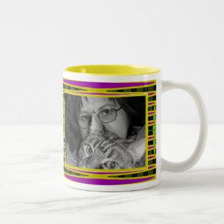 yellow pink  frame Two-Tone coffee mug