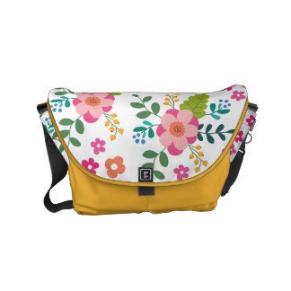 Yellow Pink Fuchsia Spring Flower Floral Pattern Small Messenger Bag