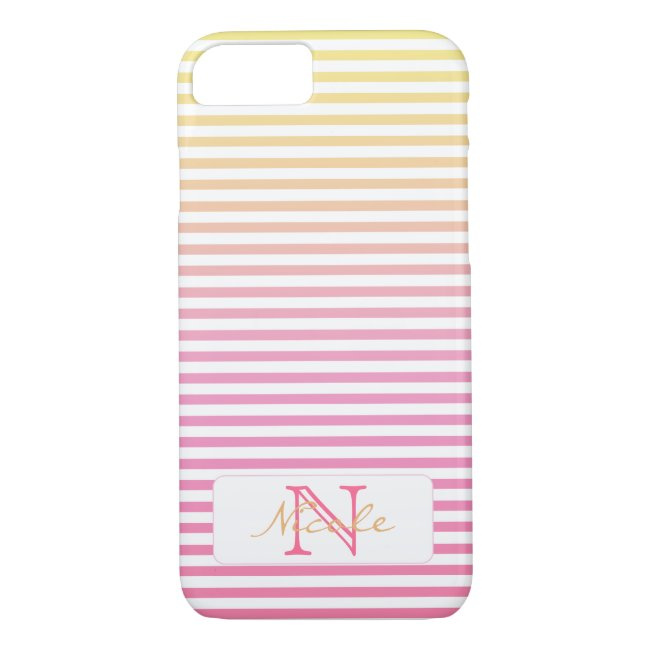 Yellow Pink Gradient Stripes Monogram