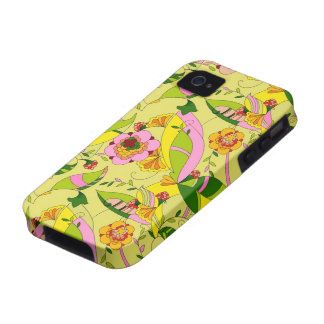 Yellow Pink & Green Art Deco Floral Design iPhone 4 Cases