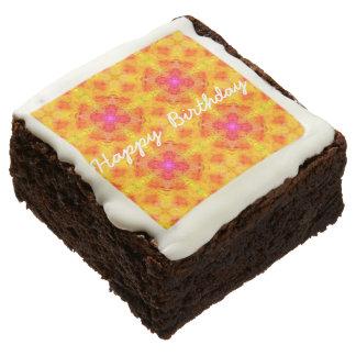 Yellow & Pink Happy Birthday Brownies (One Dozen)