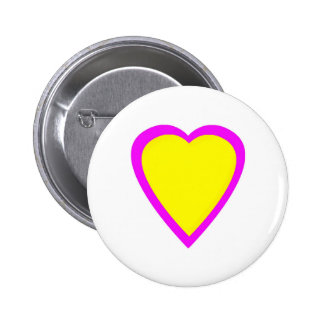 Yellow Pink Heart Pinback Button