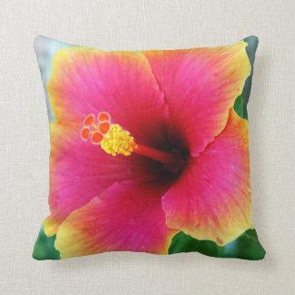 Yellow Pink Hibiscus Pillow